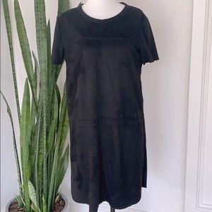 PPLA Faux Suede Black Mini Dress